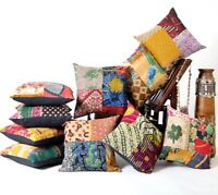 Indian Handmade Kantha Patch Cushion Cover Decor Sofa Pillow Case 5 PC LOT Multi