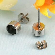 Pair Black Crystal Rhinestone Stainless Steel Round Mens Ear Stud Cool Earrings