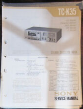 Sony TC-K35 cassette deck service repair workshop manual (original copy)