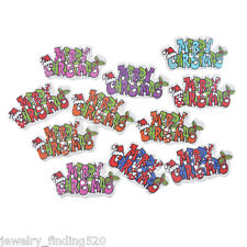 Lots Wholesale Mixed MEERRY CHRISTMAS Wood Button Two Hole Scrapbooking Craft
