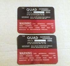 QUAD  esl57 SPEAKERS ORIGINAL LABEL BADGE SERIAL NUMBERS EX