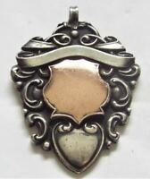 Sterling Silver with Gold Cartouche Vintage Antique 1913 Fob Medal