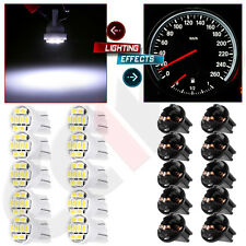 10x T10 194 168 White 8Smd Dash Instrument Speedometer Led Light Bulbs W/Sockets(Fits: Neon)