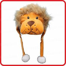 LION PANTHERA LEO ANIMAL CARTOON PLUSH FLUFFY HOODED HAT CAP BEANIE EARMUFF