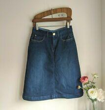 Per Una Knee Length Blue Denim Skirt Jeans Pockets Zip Fly A Line Stretch 10