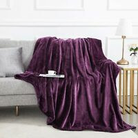 Silky Soft Thick Plush Bed Blanket Sofa Throw Double King Size Plum Purple