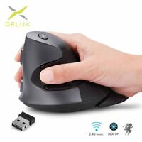 Delux M618GX Ergonomic Vertical Wireless Mouse 6 Buttons 1600DPI Optical Mouse