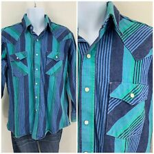 New listing Vintage 80s 90s Saddle King Western Pearl Snap Shirt Striped Heavy Cotton L
