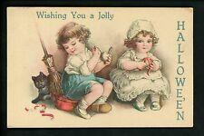 Halloween postcard Wolf 21-8 Children broom apples black cat Vintage