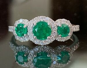 Emerald and Diamond Ring Trilogy Cluster Engagement in Platinum