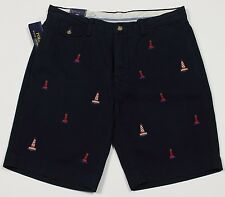 Men's POLO RALPH LAUREN Navy Blue Lighthouse Yachting Sailing Shorts 34 NWT NEW
