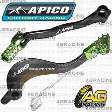 Apico Black Green Rear Brake & Gear Pedal Lever For Kawasaki KX 250F 2007 MotoX