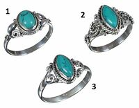 Handmade 925 Solid Sterling Silver Ring Natural Turquoise Gemstone US Size JR43