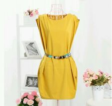 NEW KOREAN FASHION HOUR GLASS SOLID CHIC PARTY DRESS W/ BELT (YELLOW)