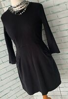 WHISTLES Black Skater Style Dress Sz 12 Pockets Stretchy Autumn Winter / b7