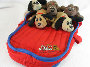"Vintage 1980's Pound Puppies travel carrier & lot of 5, 8"" plush puppies Tonka"