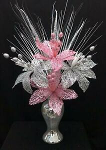 Beautiful Silver Mirror Bling 26cm Vase with Pink & Silver Flowers, Home Decor