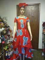 African Print Wax Dress Size Large