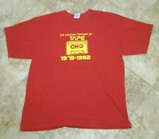 MEN'S XL IN LOVING MEMORY OF TAPE 1975-1992 RED T-SHIRT YELLOW R.I.P. FUNNY JOKE