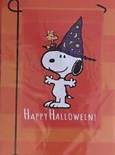 Peanuts SNOOPY Fall HAPPY HALLOWEEN  Garden  Flag 12 x 18 WOODSTOCK  Hat