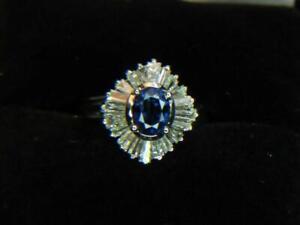 1.08CT STUNNING NATURAL vBLUE MADAGSCAR SAPPHIRE .83CTW DIAMOND PLATINUM RING