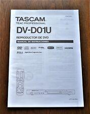 Tascam Teac DV-D01U DVD player ORIGINAL user manual in SPANISH Language!