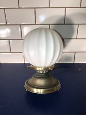 Wired Flush Mount Fixture Weathered Brass Patina Antique White Globe 56D