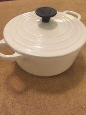 LE CREUSET Dutch Oven #18 Pot Pan w/Lid White Enamel Cast Iron 2 QT French EUC