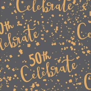 50th Birthday Gift Wrapping Sheet Unisex 50 Fifty Today Gold Metallic Wrap