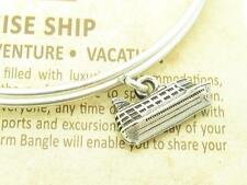 Wind and Fire Cruise Ship 3D Charm Silver Wire Bangle Stackable Bracelet Gift