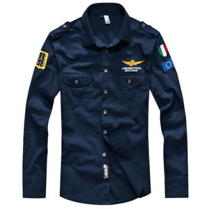 Men's Military Shirts Long Sleeve Casual Business Slim Army Cotton Camisas Shirt