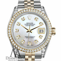Ladies Rolex Stainless Steel 18K Gold 26mm Datejust Watch White MOP Diamond Dial