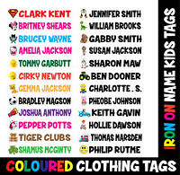 10 IRON ON CHARACTER Personalised Name School Labels Tags Kids Uniform Clothes