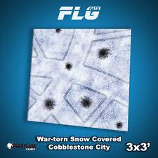 FLG Mats: War-Torn Snow Cobblestone 1 3x3 High Quality Tabletop Gaming Mat