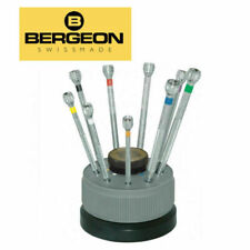 BERGEON 5970 SWISS WATCHMAKERS CHROMIUM PLATED 9 PIECE SCREWDRIVER SET