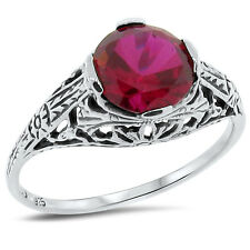 2 Ct. Lab Ruby Art Deco 925 Sterling Silver Antique Design Ring Size 5, #175
