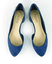 NEW Guess Royal Blue Suede Leather Flats Shoes 6 1/2 Medium Low Heal Almond Toe