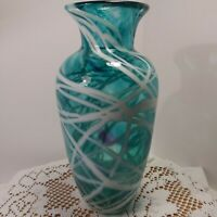 "Beautiful Hand Blown  Art Glass Vase Blue With White Swirl.  ""Signed On Bottom"""