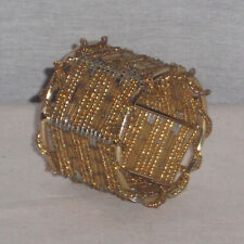 ELEGANT SET OF 4 WIRE & GLASS BEADED GOLD COLOR NAPKIN RINGS 2'' TALL NEW
