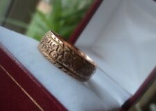 Vintage 9ct Rose Gold Patterned Wedding Band Ring h/m 1912 Birmingham -  size Q