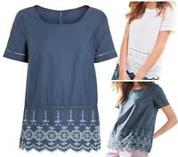 NEW IN! NEXT White Blue 100% Cotton Broderie Lace Hem Top Blouse Tunic 6 - 24