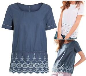 NEXT White Blue 100% Cotton Broderie Lace Hem Top Blouse Tunic CLEARANCE