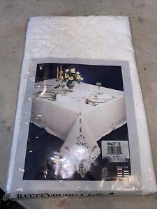 100% Cotton Battenburg Lace White 66x 84 Oblong new vintage Macy's 8 Napkins set