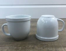 Pottery Barn Mugs White Suppertime Du Jour 12 ounce Coffee Cups