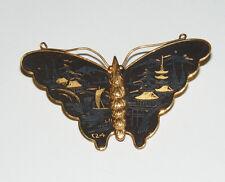 Vintage K24 Black & Gold Japanese Scene Damascene Butterfly Pin Brooch A18