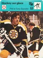 FICHE CARD: Phil et Tony Esposito Canada Hockey sur glace ICE HOCKEY 1970s