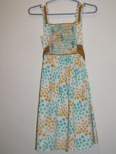 Boutique LOLLIPOP Girl's SMOCKED Sun Dress w/ Green & Golden Yellow Flowers Sz 2