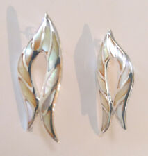 Sterling Silver Golden Yellow Mother Of Pearl Stud Earring