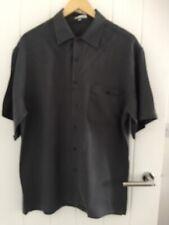 Quality 100% Pure Silk Men's Dark Grey Shirt Size Asian L / UK M / Brand New