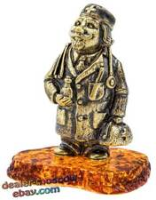 Bronze Solid Brass Baltic Amber Figurine Old Doctor Statuette